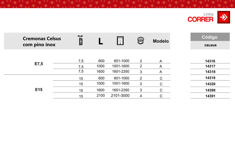 Tabela de códigos cremona Celsus com pino inox